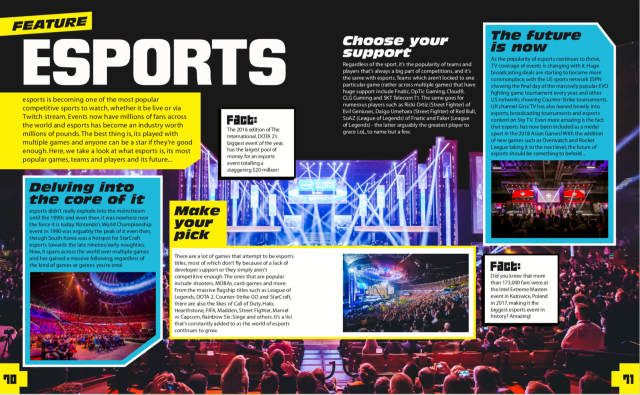A portion of the esports section.